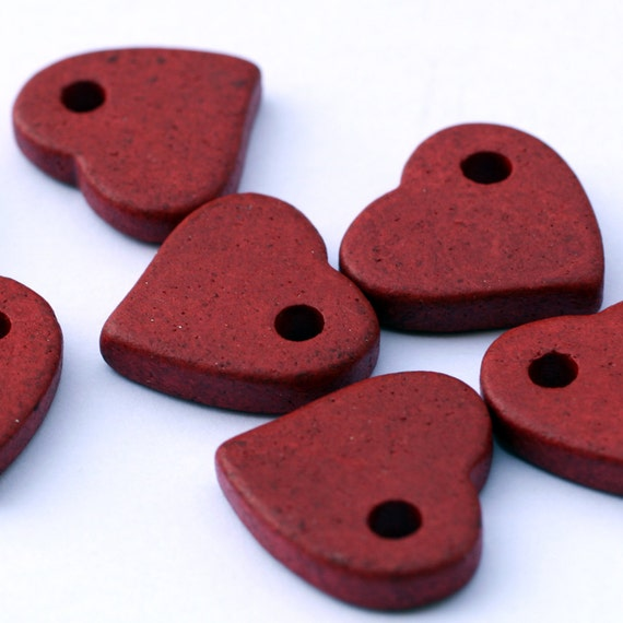 Large Red Ceramic Heart Beads - 3pcs C 10 051