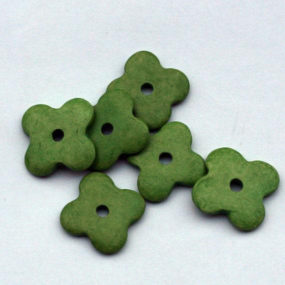 Green Flower Ceramic Beads  6pcs BC046