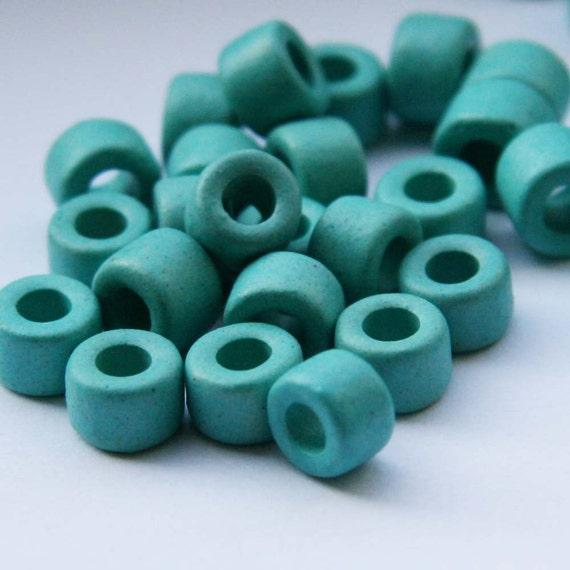 Greek Ceramic Beads Mint- light blue Tubes 30 pcs- BC057