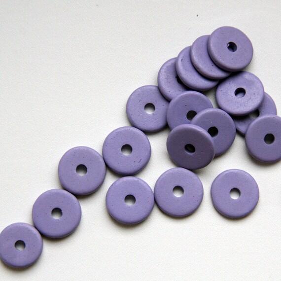 Light Purple Round Ceramic Beads  Round Washer C 10 189