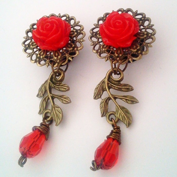 1/2 inch 12mm Red Climbing Roses Dangly Plugs for Stretched ears - EGL Sweet Street Fashion Unique