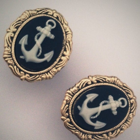 9/16 inch 14mm Plugs Anchor Nautical Navy Blue Rockabilly Chic cool Glam