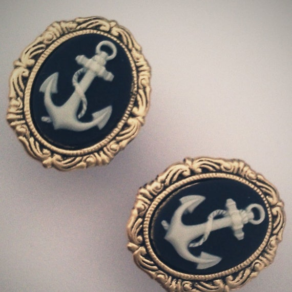 11/16 Inch 18mm Plugs Anchor Nautical Navy Blue Rockabilly Chic cool Glam