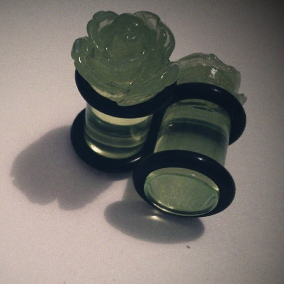Plugs 0g 8mm Clear Lime Green Roses for Stretched Ears Decora Kawaii Kitsch Floral