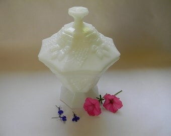 MILK GLASS covered CANDY