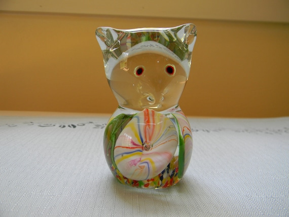 Colorful Glass Mouse Figurine Paperweight