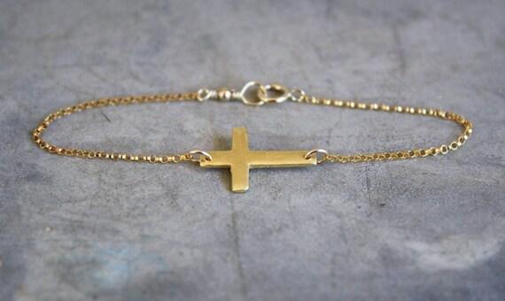 Pre-Order 9/30 - Gold Sideways Cross Bracelet