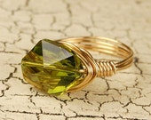 Wire Wrap Ring - Your Choice of Wire- Gold Filled, Brass, Copper and Olive Green Crystal - Any Size 4, 5, 6, 7, 8, 9, 10, 11, 12, 13, 14