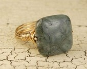 Wire Wrapped Gold Tone Ring - Smoky Green Colored Gemstone - Any Size- Size 4, 5, 6, 7, 8, 9, 10, 11, 12, 13, 14