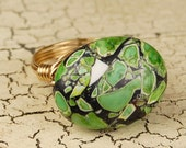 SALE- Wire Wrapped Ring - Mint Green Mosaic Magnesite Gemstone - Any Size- Size 4, 5, 6, 7, 8, 9, 10, 11, 12, 13, 14