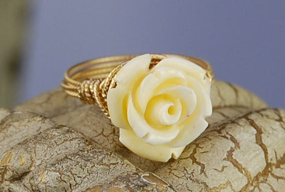 Pale Yellow/Cream Gemstone Rose Wire Wrapped Ring - Gold Tone- Any Size- Size 4, 5, 6, 7, 8, 9, 10, 11, 12, 13, 14