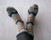 RESERVED for Justin. Hand knitted  socks with Chevron stripes - grey, light brown.