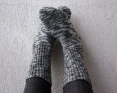 Hand knitted light grey and dark grey Striped Men's Socks - For Him - Warm Winter Autumn Clothing