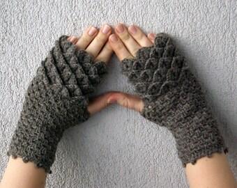 Fingerless Gloves, Handmade Wrist Warmers, Arm Warmers, Mitts, greyish  brown smoky brown neutral winter accessory.