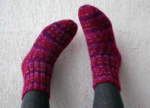 Warm and Soft Hand Knit Wool Socks.