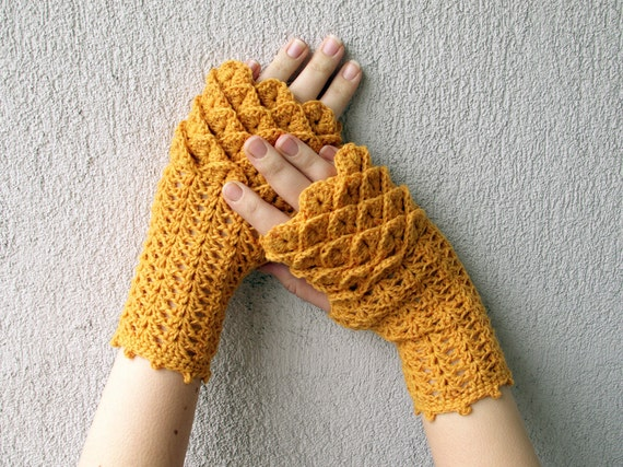 Sunny arm warmers Women Fingerless gloves Crochet mittens in mustard yellow