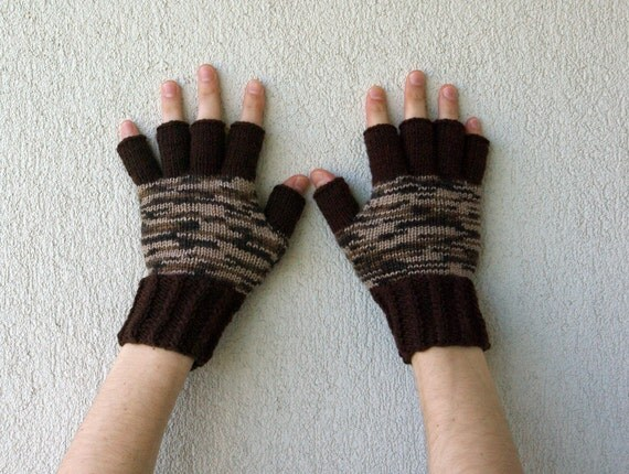 Mens Fingerless Gloves Mittens Mens Gloves Handmade Gift For Boyfriend Husband Dad  Brown Beige  Etsy Dudes