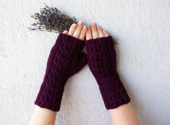 Wrist Warmers / Cabled Fingerless Gloves Hand-knitted - burgundy violet plum