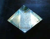 Clear Crystal Pyramid with Aztec Calendar on the bottom