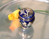 Cobalt Blue wax based glaze perfume with Gold Paintings on it