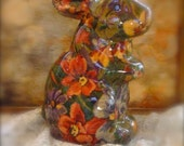 Lovely Vintage Rabbit in Fall Colors or Brown and Orange