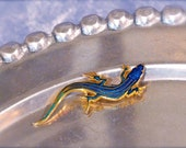 A Small Blue Racer Pin, Salamander, William Spear Design pin