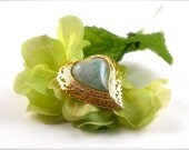 Heart Brooch with Lovely Green Stone pin