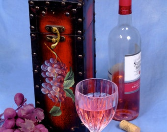 Wine Caddy with Hand painted flowers and metal latch.