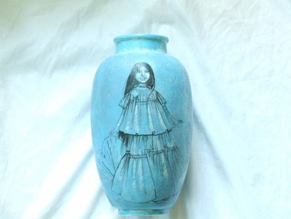 SW Collector item  for Home.   Blue Turquoise South West Indian Vase.  Signed