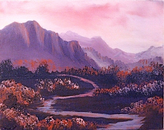 A Painting of Snake River at Sunrise in Idaho In Purple Pink Orange Red Black