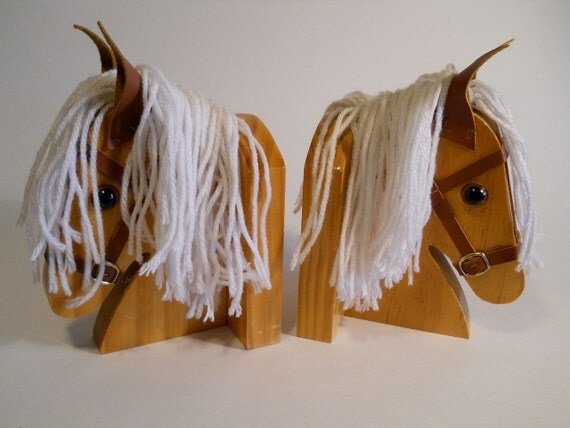 Great Childrens Pony Bookends Made of Wood and Yarn