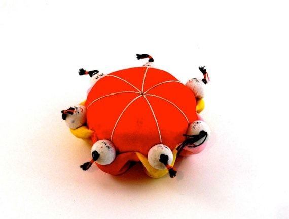 Chinese pin cushion with Red Yellow and Green
