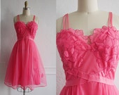 Vintage 1950s Slip  / 50s Pink Chiffon Dress / 50s Lingerie / Rare Color