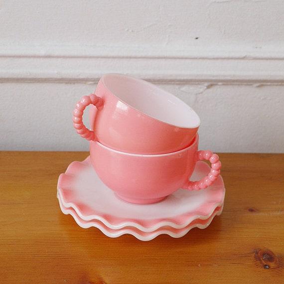 Adorable 50s Pink Milk Glass Tea Cup Set