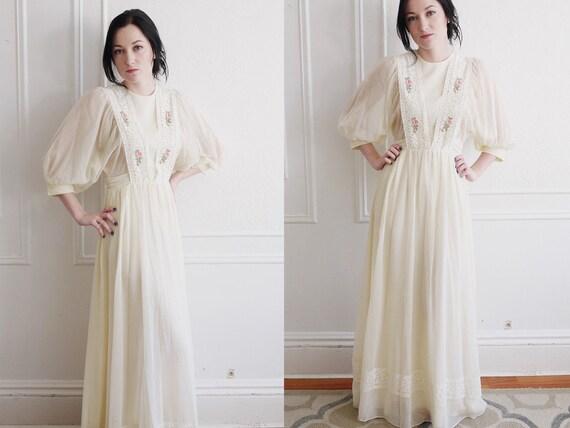 70s Maxi Dress / 70s Wedding Dress / 1970s Wedding Dress / Vintage Wedding Dress