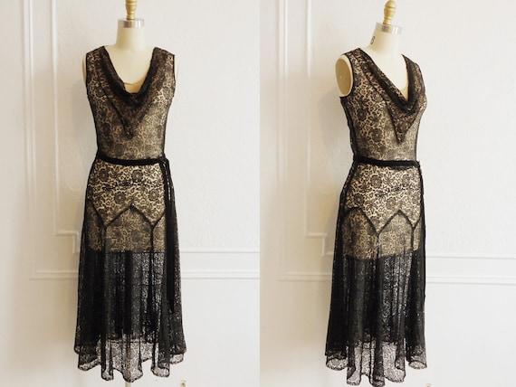 1930s Lace Dress / 1930s Dress / Vintage 1930s Dress / 1930s Cocktail Dress