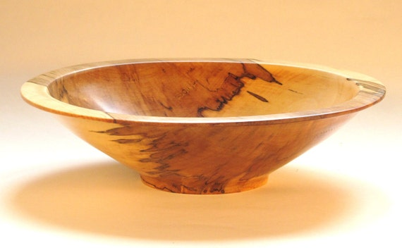 Salad or fruit bowl, spalted maple, 12.5 in. dia. x 3 in high