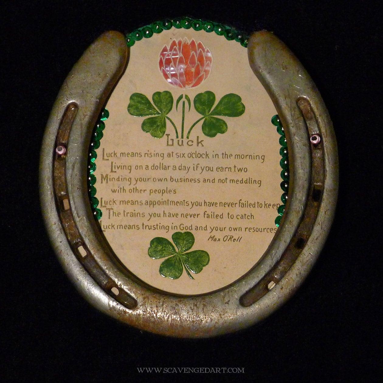 Horseshoe Art Vintage Luck Poem Four Leaf Clover Shamrock Good