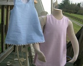 Girls Aline Jumper Dress Your Choice Stripe Seersucker or Pima Cotton Gingham SSPGHT