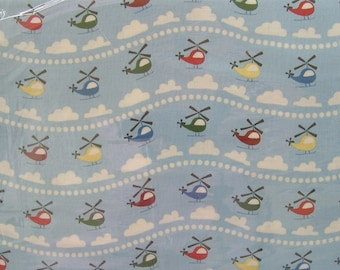 Scoot  by Deena Rutter for Riley Blake Designs Scoot Helicopters Blue 100% Cotton OOP out of print plane Fabric allover print