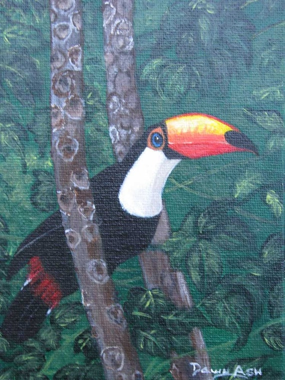 Original Toucan Bird Painting, (Color In The Jungle) DawnAshArtStudio