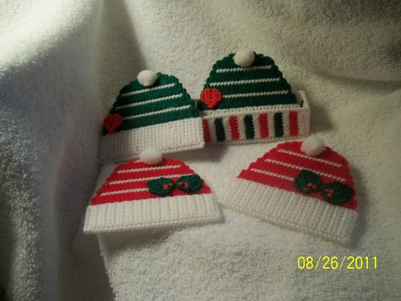 Festive Hat And Scarf Coaster  and Scarf Holder Set
