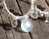 Peruvian Chalcedony and White Topaz Oblong Hoop Earrings - 925 Sterling Silver