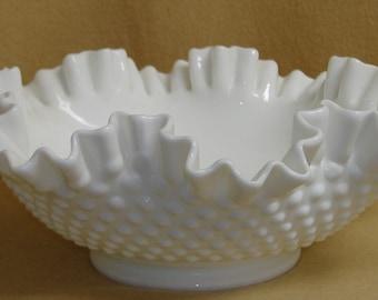 Fenton White Hobnail Bowl Large
