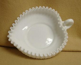 Fenton White Hobnail Heartshape Dish with Handle