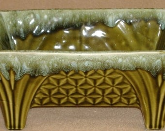 Cookson Art Pottery Footed Planter Gold with Green Drip Glaze
