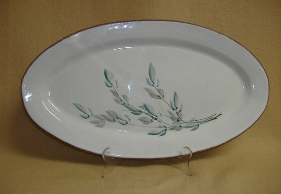 Platter Glazed Clay Hand Painted Artisan Studio Pottery