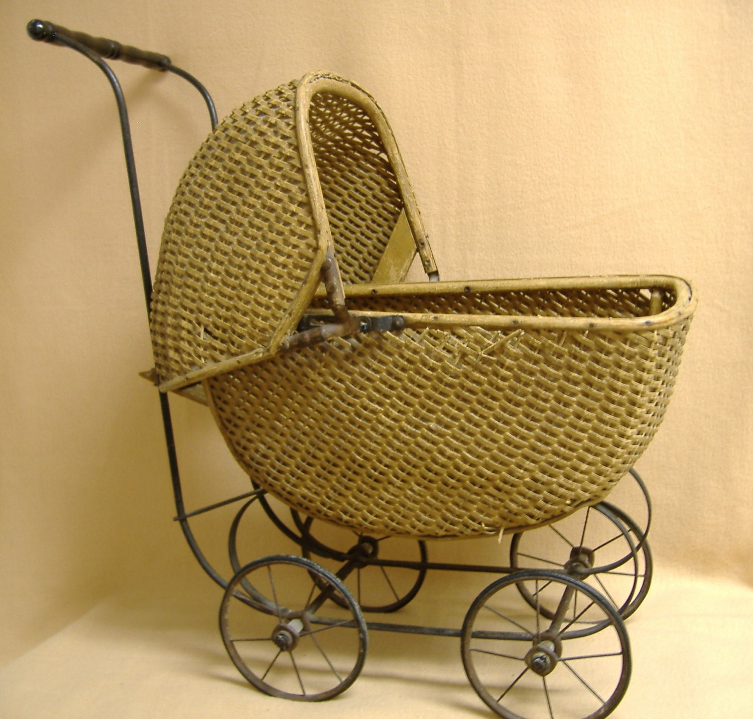 Carriage Wicker Doll Baby Shower Centerpiece Antique