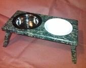 Raised Cat Feeding Station (Granite Green) - 2 Bowl