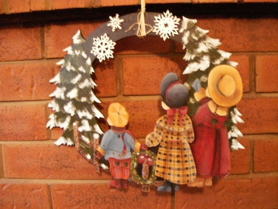 winter crown wood snow children 3D decorative hand painted